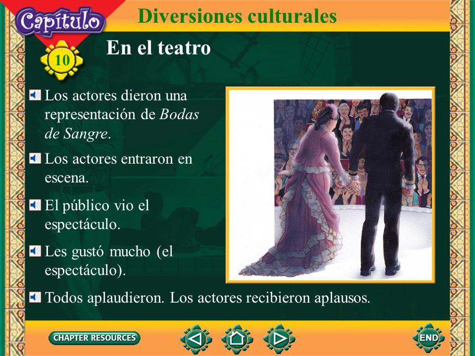 En el teatro Diversiones culturales El autor escribió la obra. 10 Escribió una obra teatral. García Lorca escribió la obra Bodas de Sangre. el teatro
