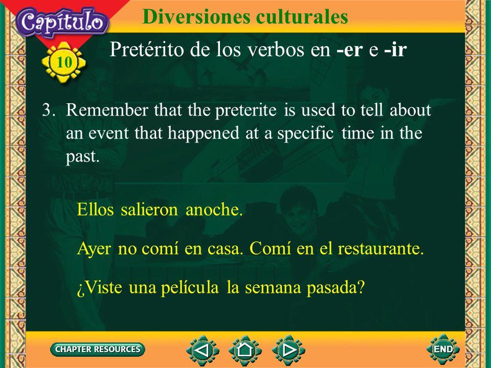 Pretérito de los verbos en -er e -ir divi disteviste diovio dimosvimos disteisvisteis dieronvieron 10 Diversiones culturales 2. The preterite forms of