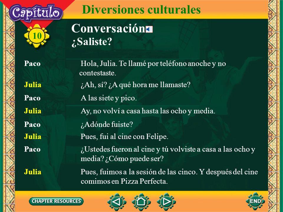 Conversación 10 Diversiones culturales ¿Saliste?