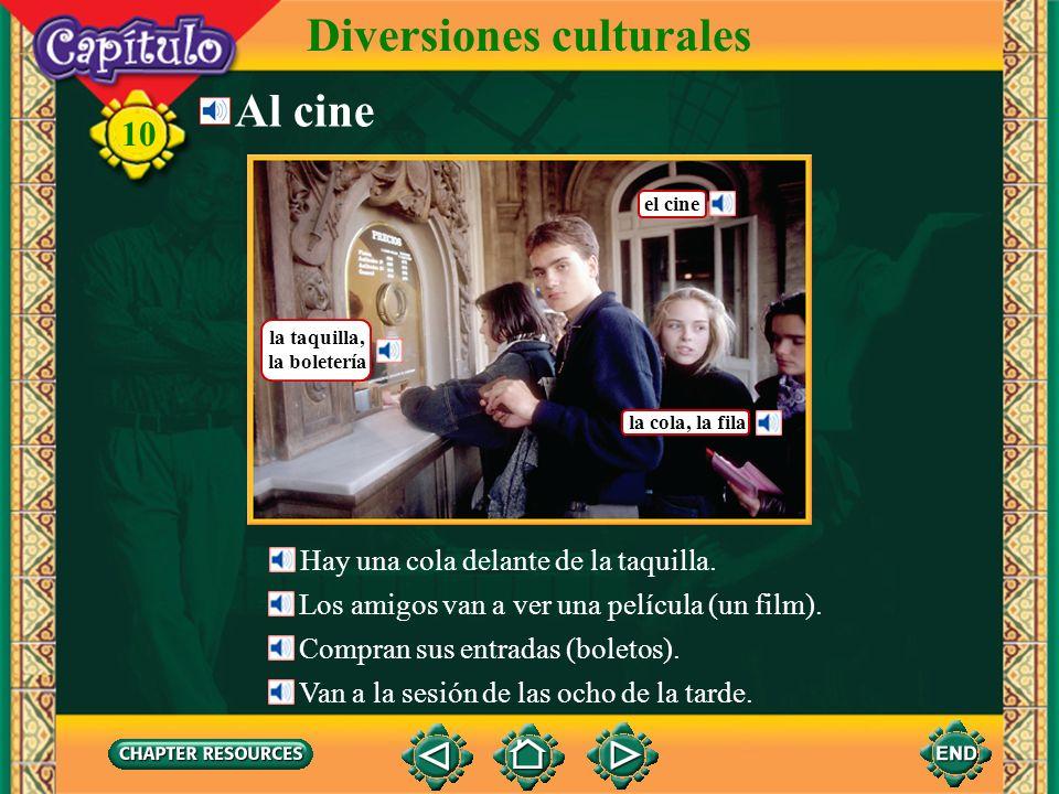 Diversiones culturales 10 Choose.1. En el museo Carla vio una estatua, un cuadro y ___.