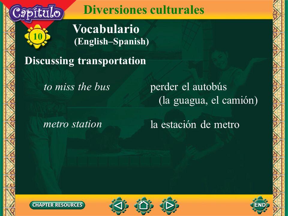 Vocabulario Describing cultural events and activities una diversión cultural cultural entertainment 10 Diversiones culturales ver una película (un esp