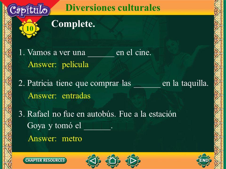 Pretérito de los verbos en -er e -ir divi disteviste diovio dimosvimos disteisvisteis dieronvieron 10 Diversiones culturales 2.