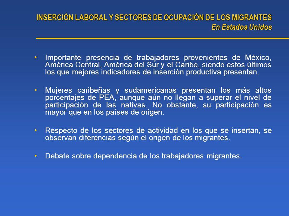 Importante presencia de trabajadores provenientes de México, América Central, América del Sur y el Caribe, siendo estos últimos los que mejores indica