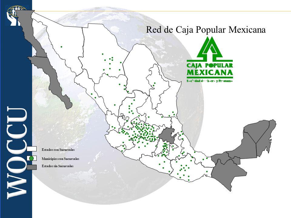 Municipios con Sucursales Estados con Sucursales Estados sin Sucursales Red de Caja Popular Mexicana