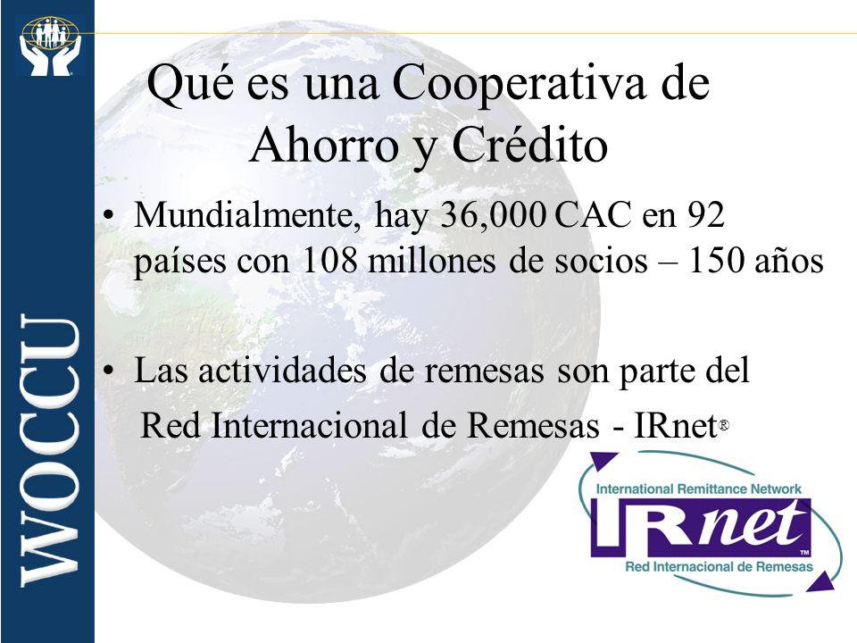 Qué es una Cooperativa de Ahorro y Crédito Mundialmente, hay 36,000 CAC en 92 países con 108 millones de socios – 150 años Las actividades de remesas