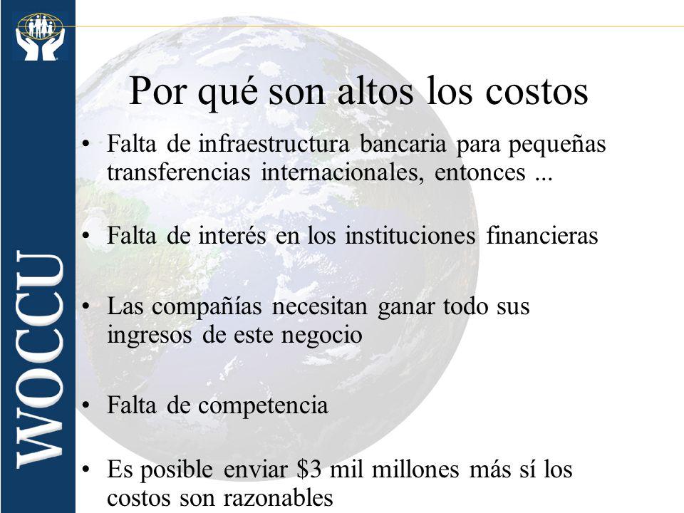 Por qué son altos los costos Falta de infraestructura bancaria para pequeñas transferencias internacionales, entonces... Falta de interés en los insti