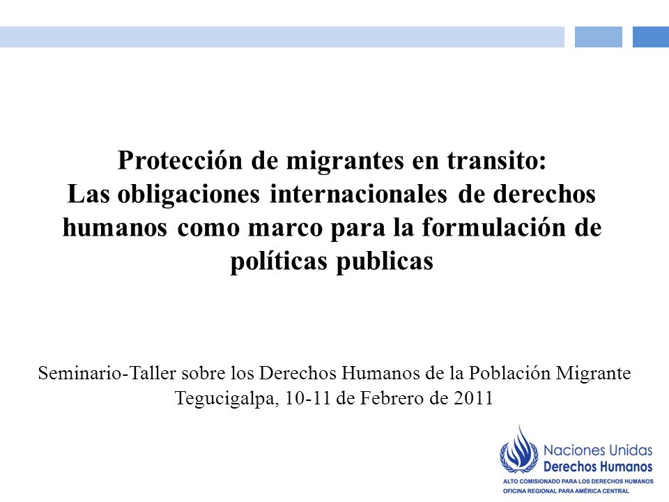 Seminario-Taller sobre los Derechos Humanos de la Población Migrante Tegucigalpa, 10-11 de Febrero de 2011 Protección de migrantes en transito: Las obligaciones internacionales de derechos humanos como marco para la formulación de políticas publicas