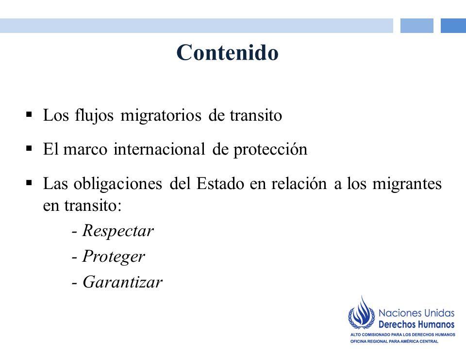 Los flujos migratorios de transito Flujos mixtos: Refugiados /solicitantes de asilo Migrantes económicos Otros (victimas de trata/trafico, menores no acompañados, migrantes victimas de violencia, etc.) Muchos pueden pertenecer al mismo tiempo a dos o varias de estas categorías o pasar de una a otra