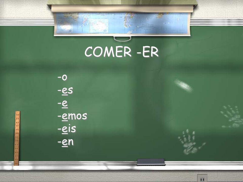 Comer Tu ______comes El _____come Ellos _______comen Yo ______como Nosotros ______comemos Ellas ______comen Vosotros ______comeis Comer Tu ______comes El _____come Ellos _______comen Yo ______como Nosotros ______comemos Ellas ______comen Vosotros ______comeis