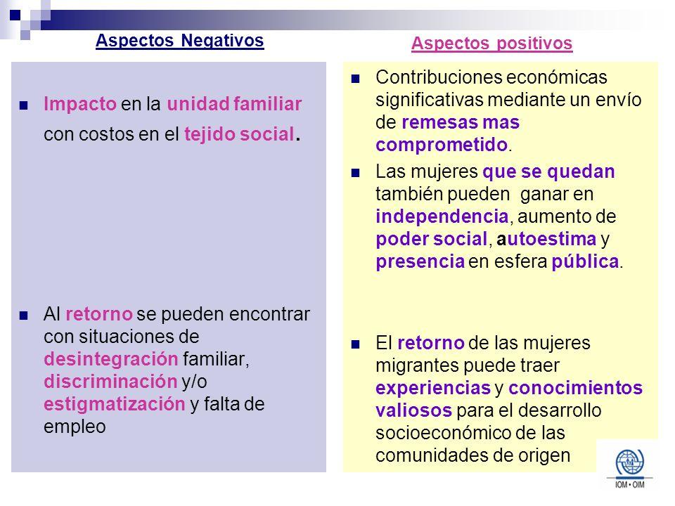 Impacto en la unidad familiar con costos en el tejido social. Al retorno se pueden encontrar con situaciones de desintegración familiar, discriminació