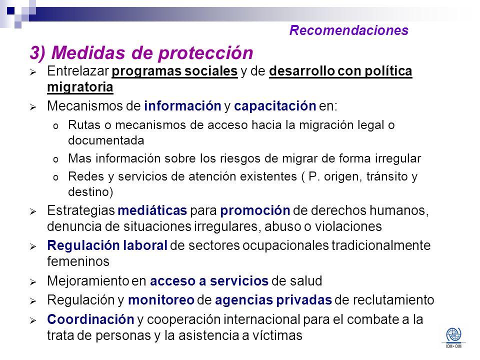 3) Medidas de protección Entrelazar programas sociales y de desarrollo con política migratoria Mecanismos de información y capacitación en: o Rutas o
