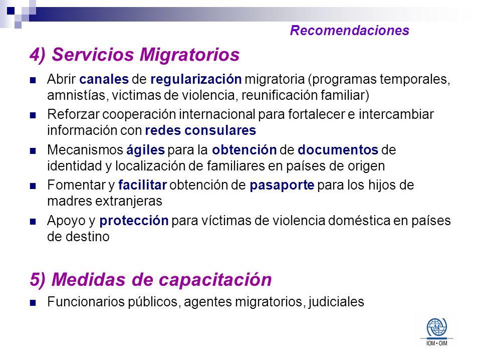 4) Servicios Migratorios Abrir canales de regularización migratoria (programas temporales, amnistías, victimas de violencia, reunificación familiar) R