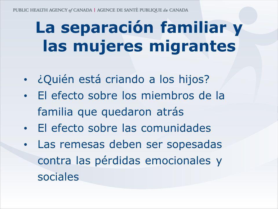 La separación familiar y las mujeres migrantes ¿Quién está criando a los hijos? El efecto sobre los miembros de la familia que quedaron atrás El efect