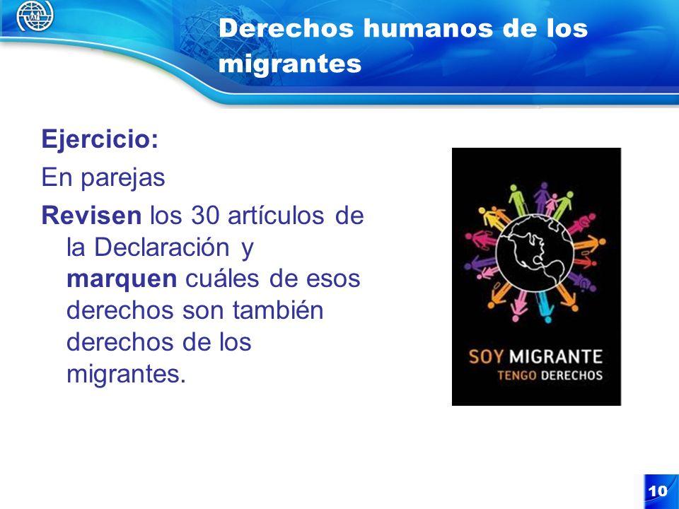 10 Derechos humanos de los migrantes Ejercicio: En parejas Revisen los 30 artículos de la Declaración y marquen cuáles de esos derechos son también de