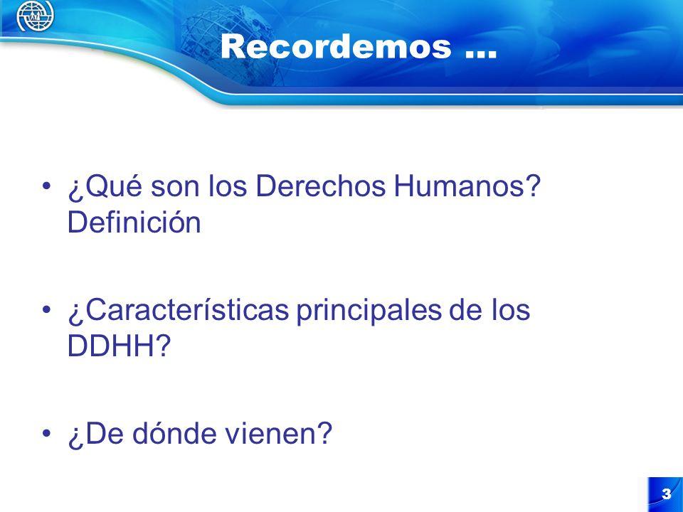3 Recordemos … ¿Qué son los Derechos Humanos? Definición ¿Características principales de los DDHH? ¿De dónde vienen?