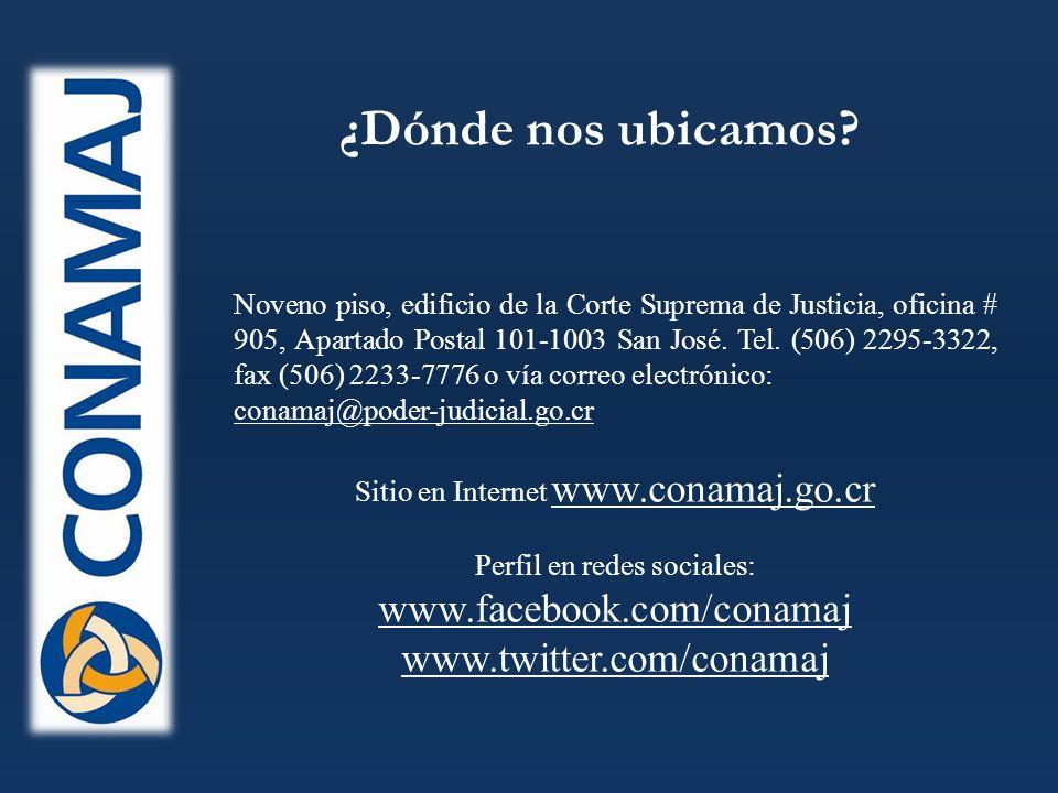 Noveno piso, edificio de la Corte Suprema de Justicia, oficina # 905, Apartado Postal 101-1003 San José.