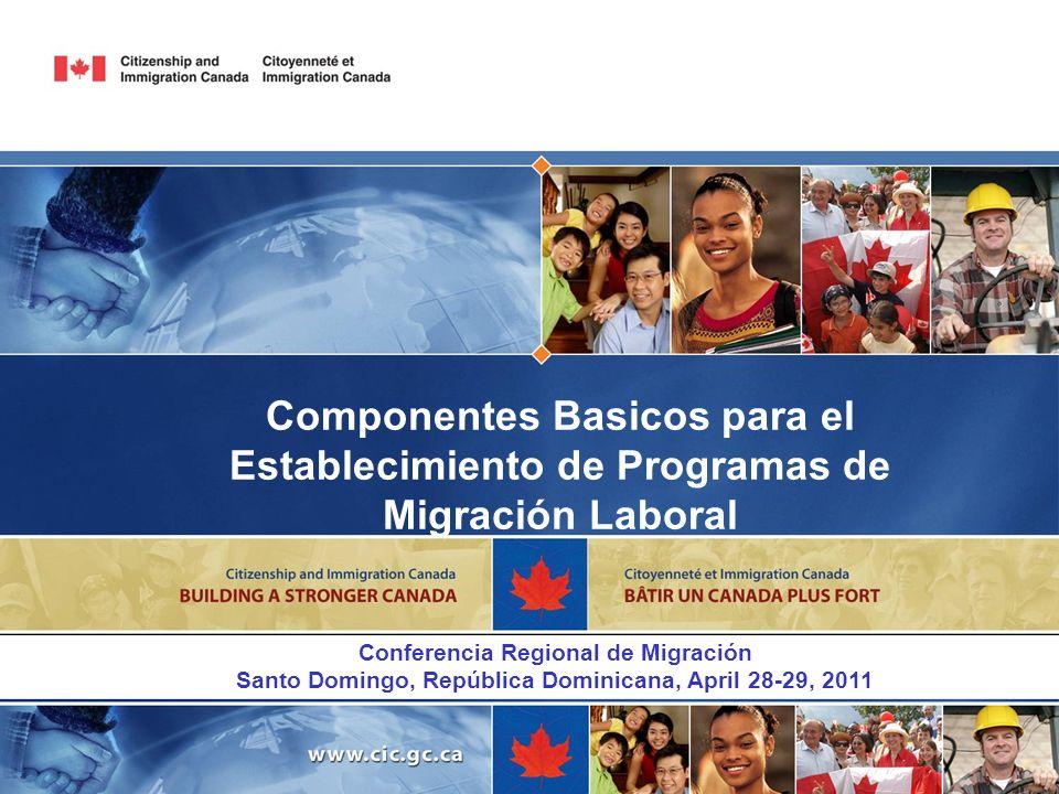 Componentes Basicos para el Establecimiento de Programas de Migración Laboral Conferencia Regional de Migración Santo Domingo, República Dominicana, A