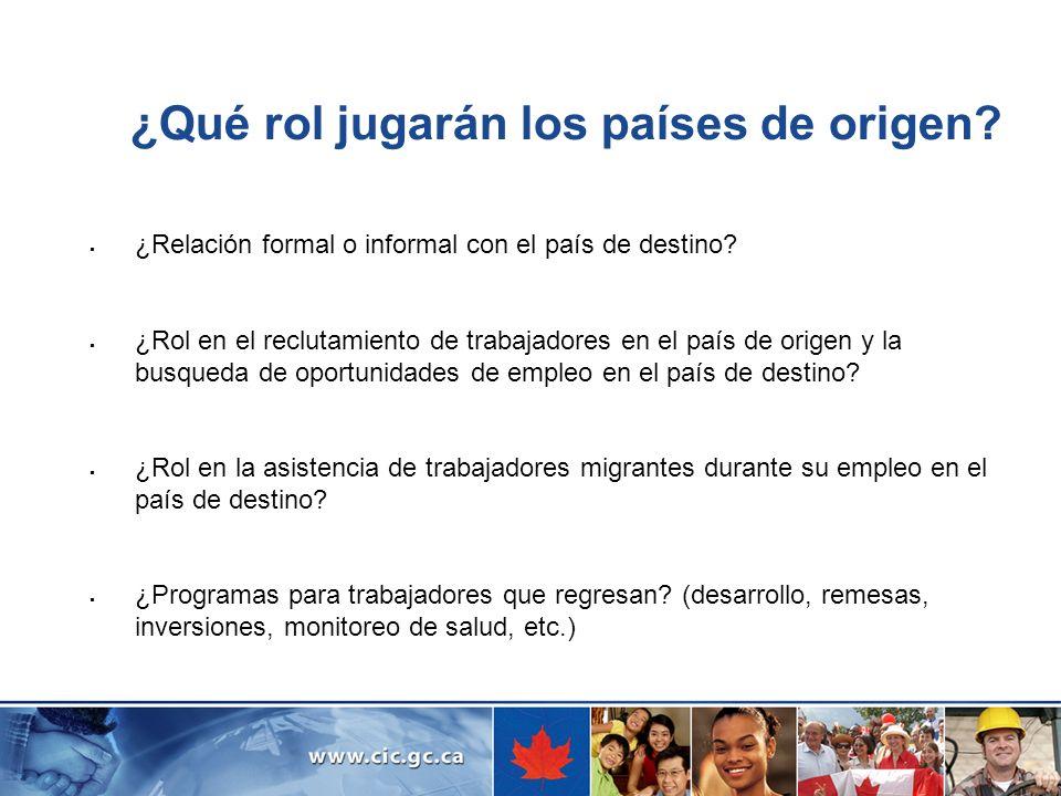 ¿Qué rol jugarán los países de origen? ¿Relación formal o informal con el país de destino? ¿Rol en el reclutamiento de trabajadores en el país de orig