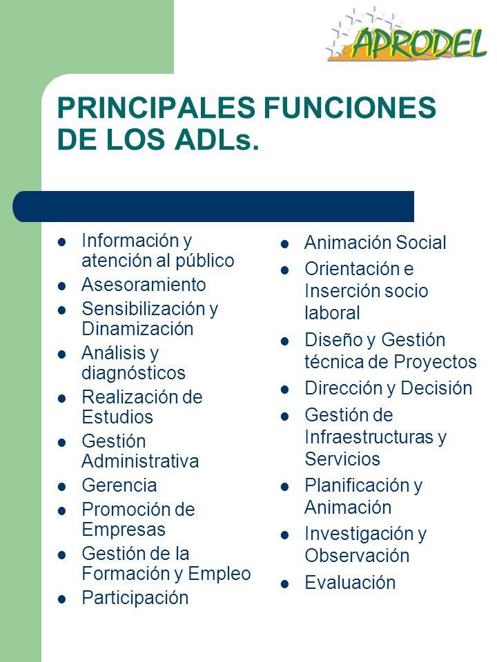 PRINCIPALES FUNCIONES DE LOS ADLs. Información y atención al público Asesoramiento Sensibilización y Dinamización Análisis y diagnósticos Realización