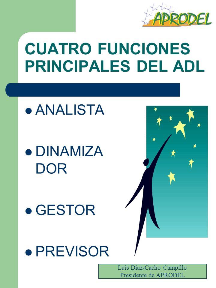 CUATRO FUNCIONES PRINCIPALES DEL ADL ANALISTA DINAMIZA DOR GESTOR PREVISOR Luis Díaz-Cacho Campillo Presidente de APRODEL