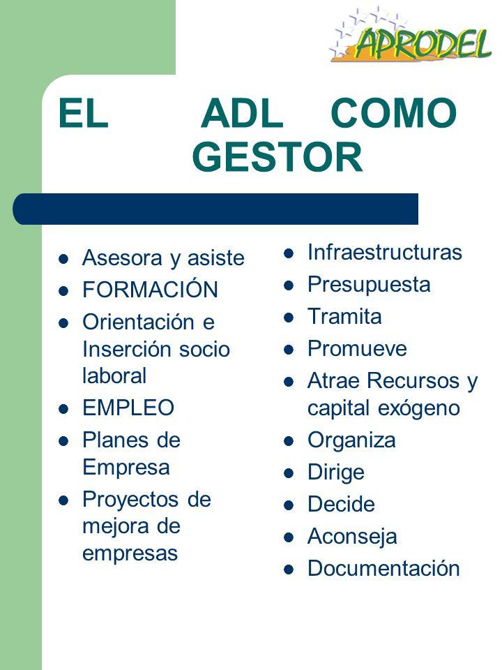 EL ADL COMO GESTOR Asesora y asiste FORMACIÓN Orientación e Inserción socio laboral EMPLEO Planes de Empresa Proyectos de mejora de empresas Infraestr