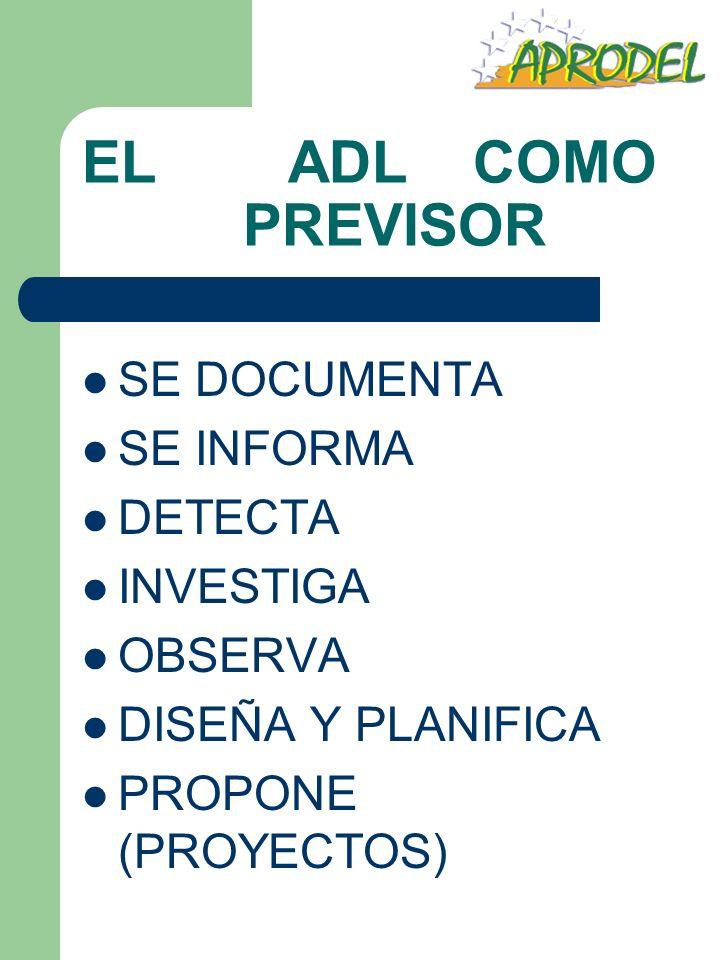 EL ADL COMO PREVISOR SE DOCUMENTA SE INFORMA DETECTA INVESTIGA OBSERVA DISEÑA Y PLANIFICA PROPONE (PROYECTOS)