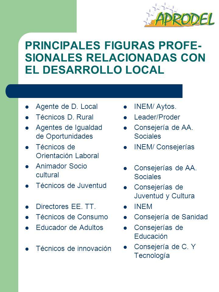 PRINCIPALES FIGURAS PROFE- SIONALES RELACIONADAS CON EL DESARROLLO LOCAL Agente de D. Local Técnicos D. Rural Agentes de Igualdad de Oportunidades Téc