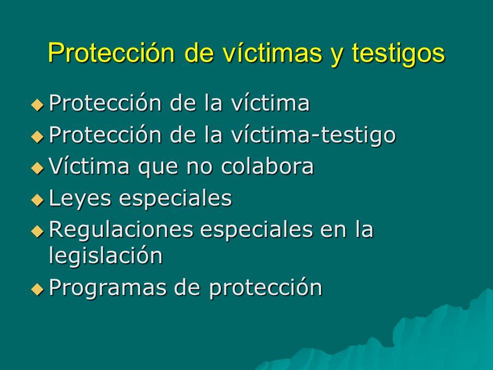 Protección de víctimas y testigos Protección a la víctima que no colabora Protección a la víctima que no colabora Medidas especiales para víctimas de trata de personas (incluye protección migratoria) Medidas especiales para víctimas de trata de personas (incluye protección migratoria) Correlación entre protección y asistencia.