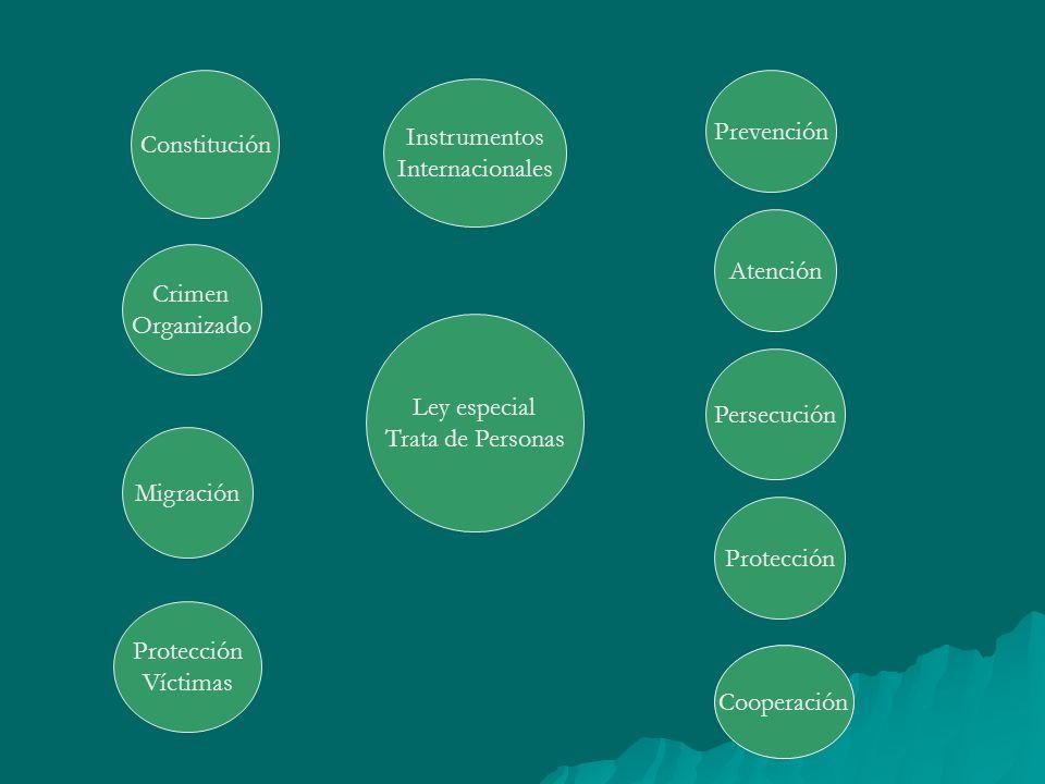 Ley especial Trata de Personas Atención Prevención Constitución Crimen Organizado Migración Protección Víctimas Persecución Protección Cooperación Ins
