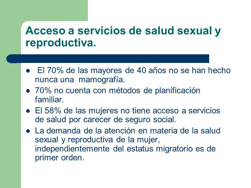 Acceso a servicios de salud sexual y reproductiva. El 70% de las mayores de 40 años no se han hecho nunca una mamografía. 70% no cuenta con métodos de