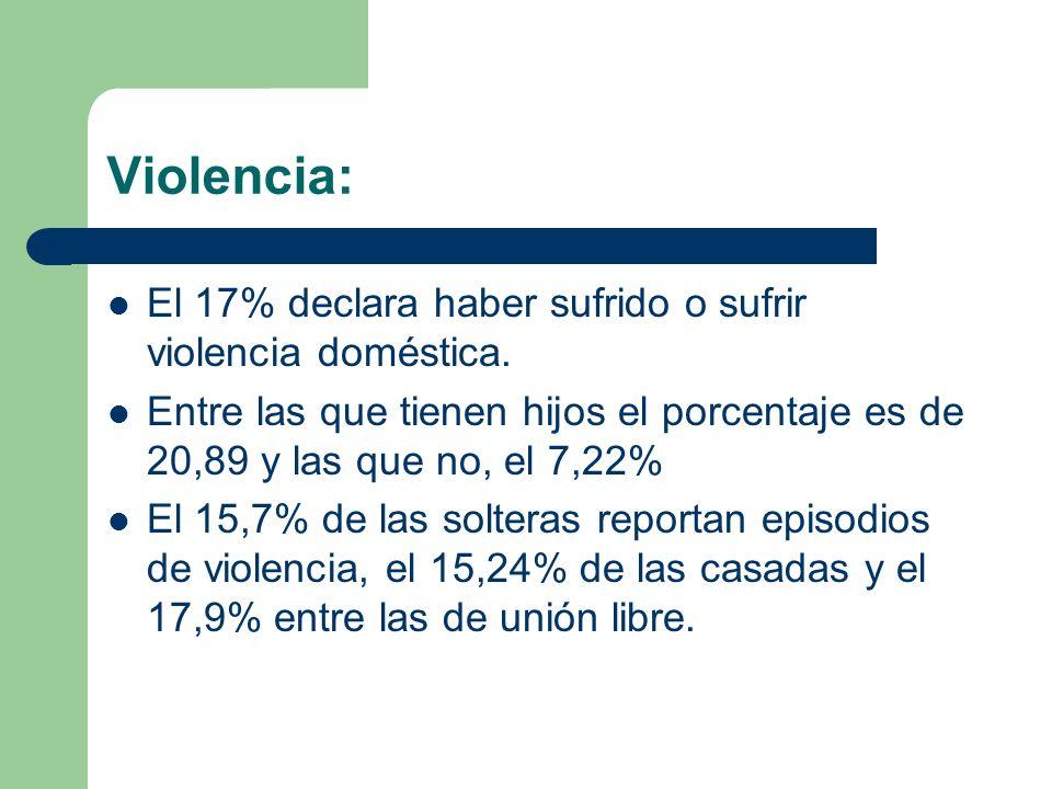 Violencia: El 17% declara haber sufrido o sufrir violencia doméstica. Entre las que tienen hijos el porcentaje es de 20,89 y las que no, el 7,22% El 1