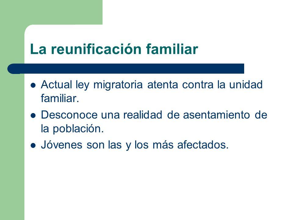 La reunificación familiar Actual ley migratoria atenta contra la unidad familiar. Desconoce una realidad de asentamiento de la población. Jóvenes son