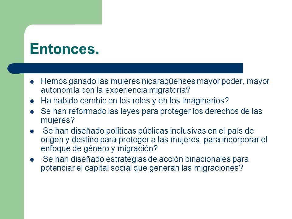 Entonces. Hemos ganado las mujeres nicaragüenses mayor poder, mayor autonomía con la experiencia migratoria? Ha habido cambio en los roles y en los im