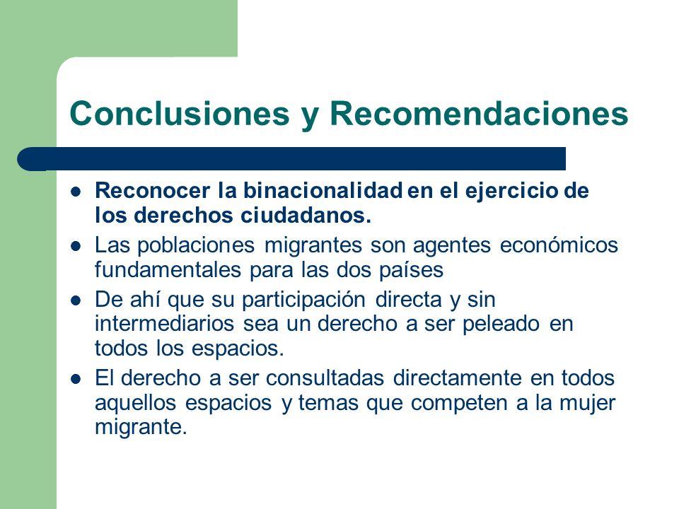Conclusiones y Recomendaciones Reconocer la binacionalidad en el ejercicio de los derechos ciudadanos. Las poblaciones migrantes son agentes económico