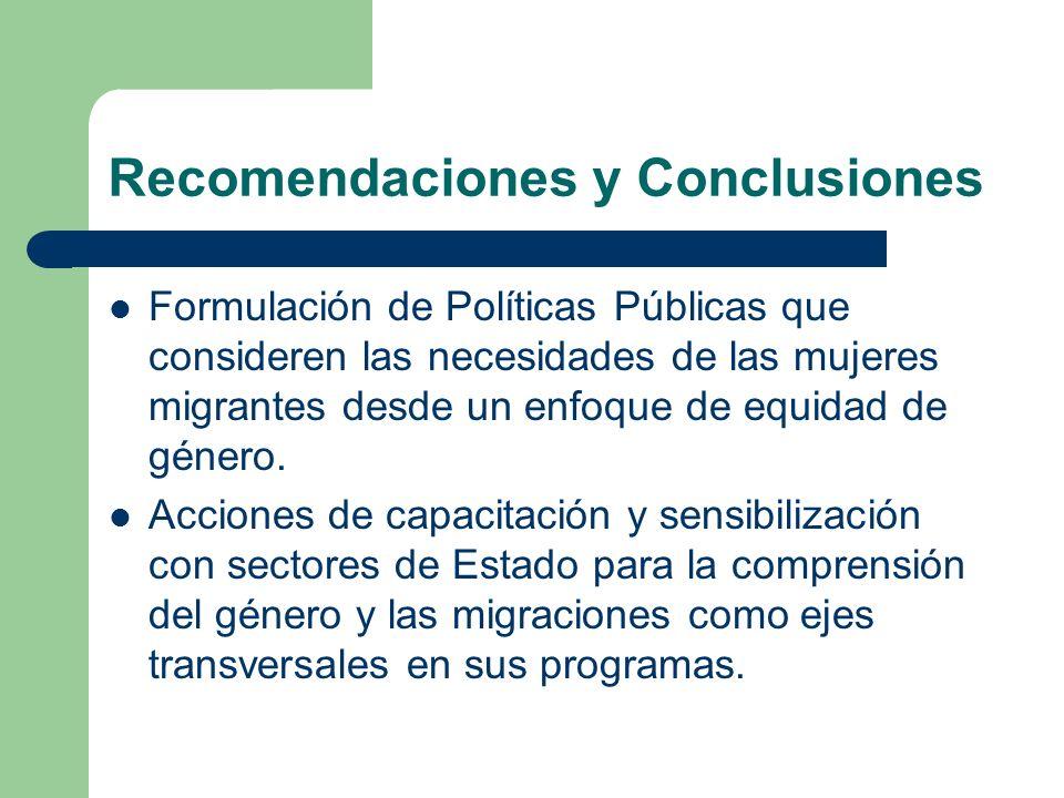 Recomendaciones y Conclusiones Formulación de Políticas Públicas que consideren las necesidades de las mujeres migrantes desde un enfoque de equidad d