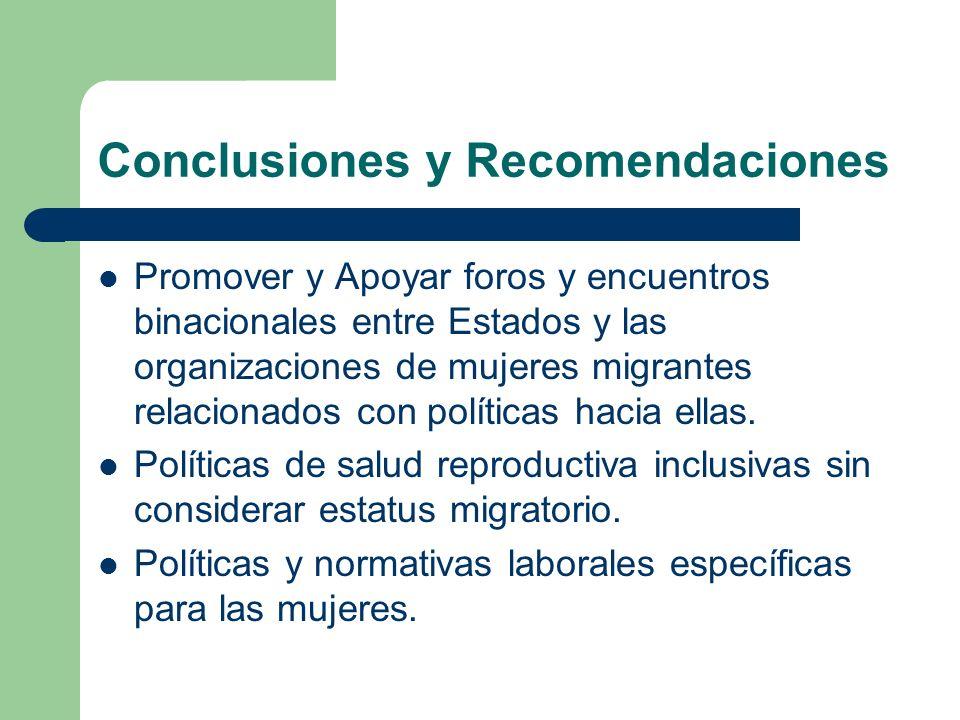 Conclusiones y Recomendaciones Promover y Apoyar foros y encuentros binacionales entre Estados y las organizaciones de mujeres migrantes relacionados