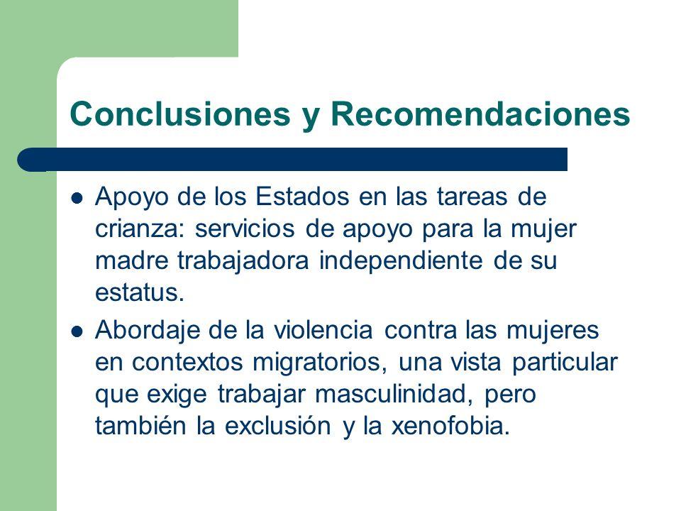 Conclusiones y Recomendaciones Apoyo de los Estados en las tareas de crianza: servicios de apoyo para la mujer madre trabajadora independiente de su e