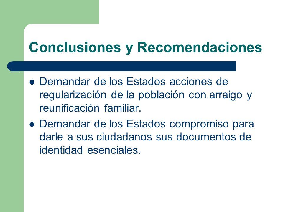 Conclusiones y Recomendaciones Demandar de los Estados acciones de regularización de la población con arraigo y reunificación familiar. Demandar de lo