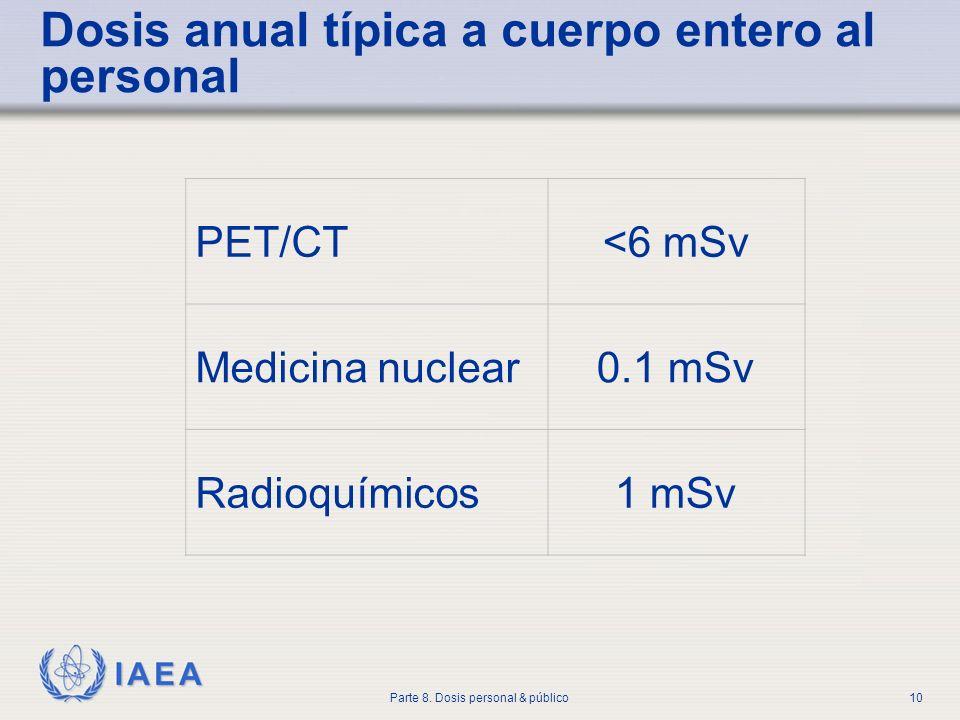 IAEA Parte 8. Dosis personal & público10 Dosis anual típica a cuerpo entero al personal PET/CT<6 mSv Medicina nuclear0.1 mSv Radioquímicos1 mSv