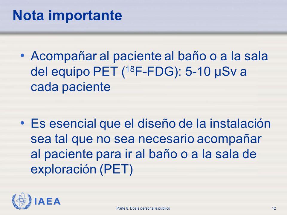 IAEA Parte 8. Dosis personal & público12 Nota importante Acompañar al paciente al baño o a la sala del equipo PET ( 18 F-FDG): 5-10 µSv a cada pacient
