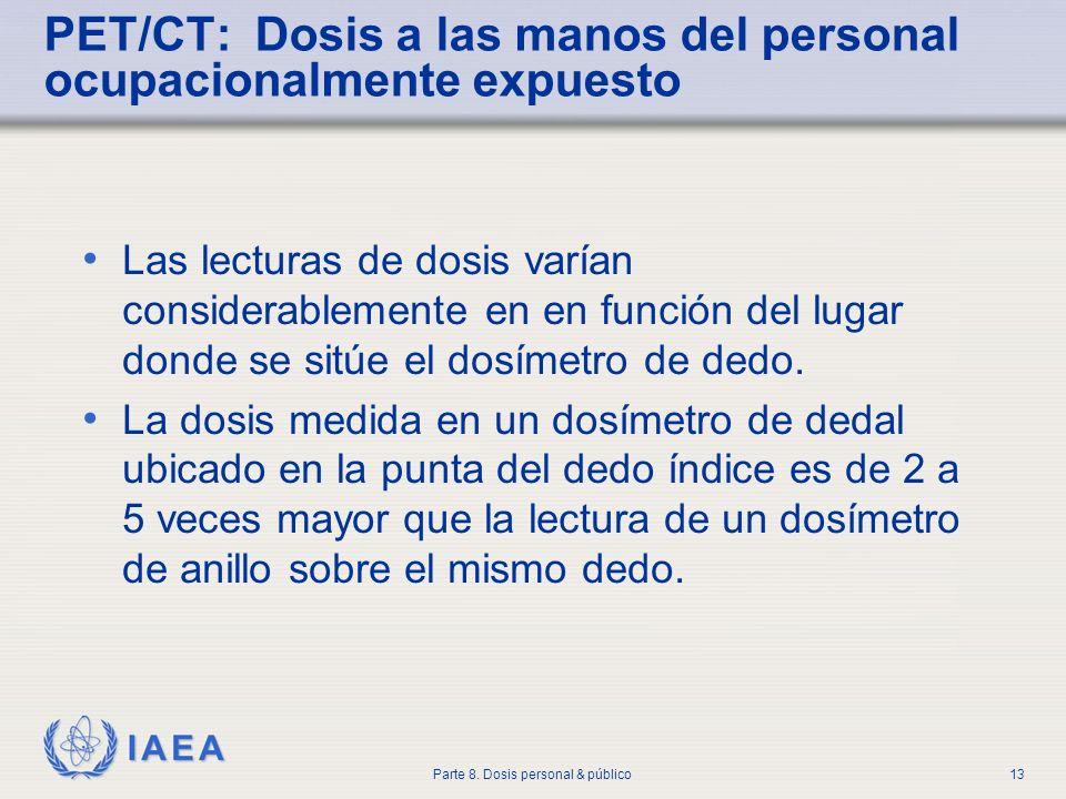 IAEA Parte 8. Dosis personal & público13 PET/CT: Dosis a las manos del personal ocupacionalmente expuesto Las lecturas de dosis varían considerablemen