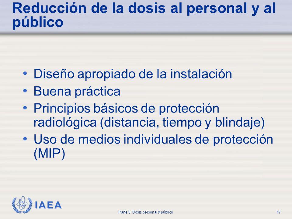 IAEA Parte 8. Dosis personal & público17 Reducción de la dosis al personal y al público Diseño apropiado de la instalación Buena práctica Principios b