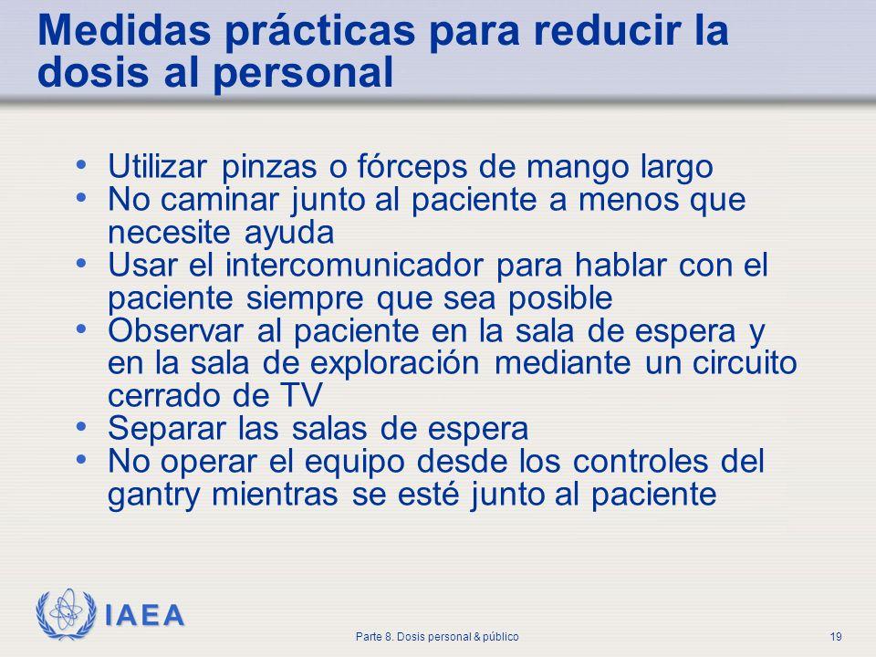 IAEA Parte 8. Dosis personal & público19 Medidas prácticas para reducir la dosis al personal Utilizar pinzas o fórceps de mango largo No caminar junto