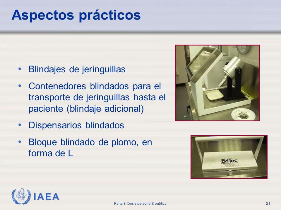 IAEA Parte 8. Dosis personal & público21 Aspectos prácticos Blindajes de jeringuillas Contenedores blindados para el transporte de jeringuillas hasta