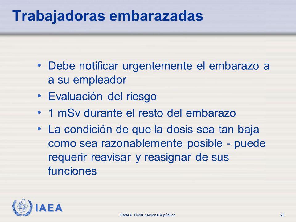 IAEA Parte 8. Dosis personal & público25 Trabajadoras embarazadas Debe notificar urgentemente el embarazo a a su empleador Evaluación del riesgo 1 mSv