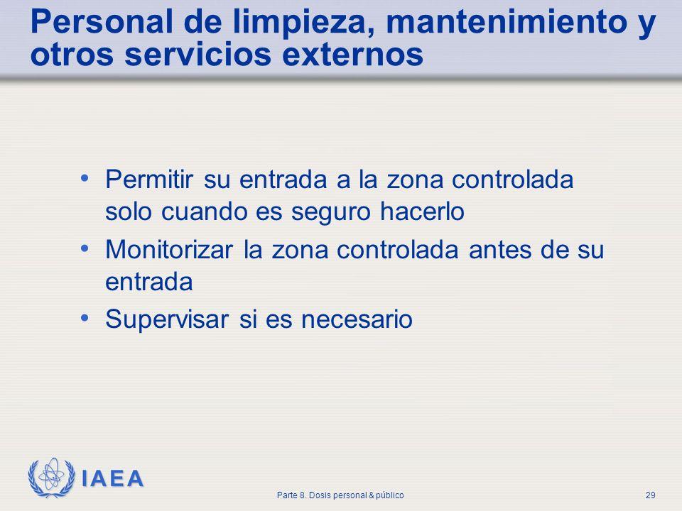 IAEA Parte 8. Dosis personal & público29 Personal de limpieza, mantenimiento y otros servicios externos Permitir su entrada a la zona controlada solo