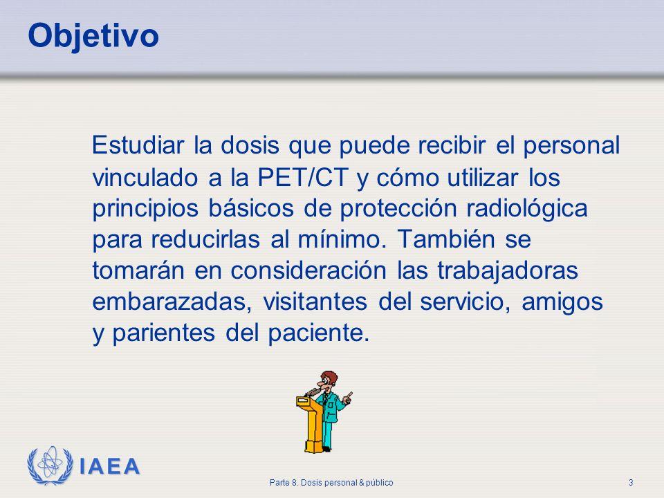 IAEA Parte 8. Dosis personal & público3 Objetivo Estudiar la dosis que puede recibir el personal vinculado a la PET/CT y cómo utilizar los principios