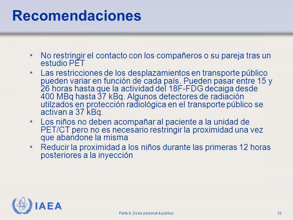 IAEA Parte 8. Dosis personal & público32 Recomendaciones No restringir el contacto con los compañeros o su pareja tras un estudio PET Las restriccione