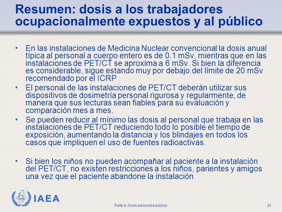IAEA Parte 8. Dosis personal & público33 Resumen: dosis a los trabajadores ocupacionalmente expuestos y al público En las instalaciones de Medicina Nu
