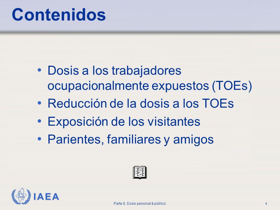 IAEA Parte 8. Dosis personal & público4 Contenidos Dosis a los trabajadores ocupacionalmente expuestos (TOEs) Reducción de la dosis a los TOEs Exposic